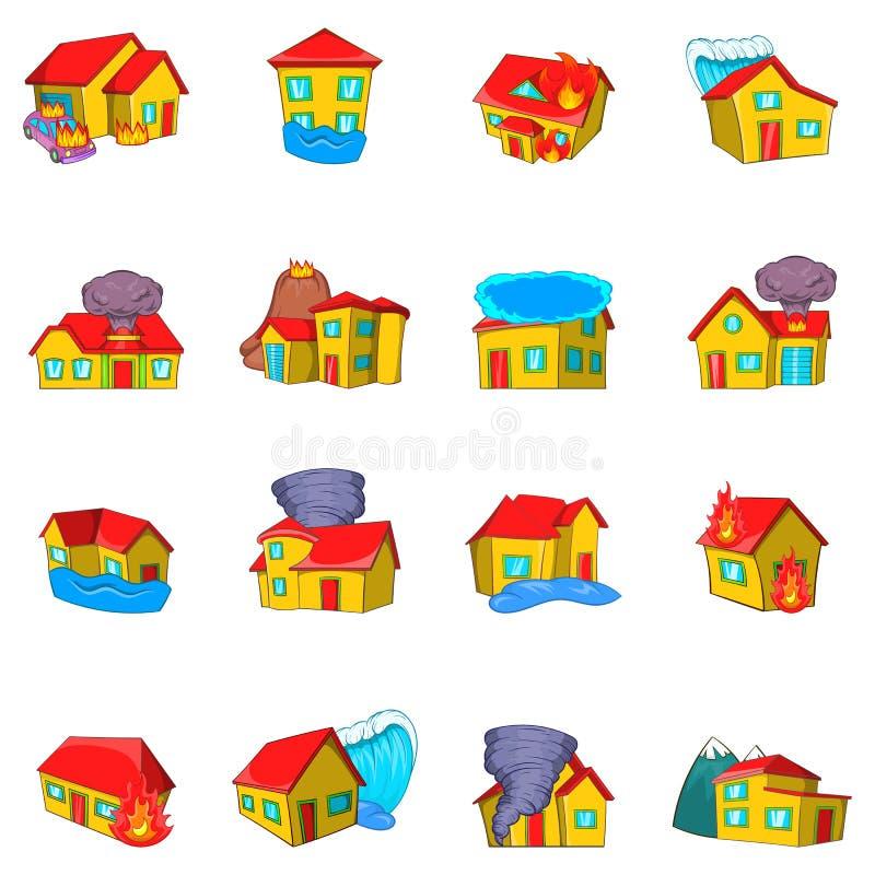 Zniszczone domowe ikony ustawiać, kreskówka styl ilustracja wektor