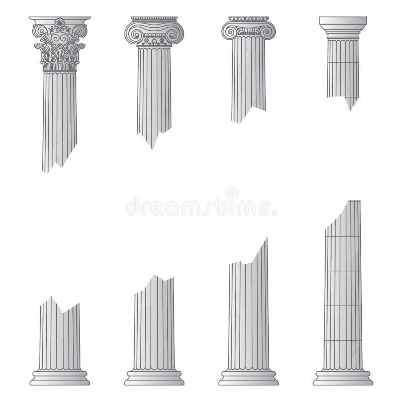 Zniszczone historyczne Greckie antykwarskie kolumny z kapita?ami r??ni rozkazy z miejscem dla teksta i ilustracja wektor
