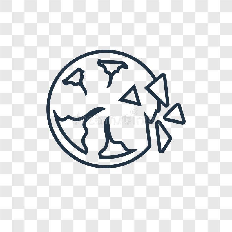 Zniszczonego planety pojęcia wektorowa liniowa ikona odizolowywająca na transpar royalty ilustracja