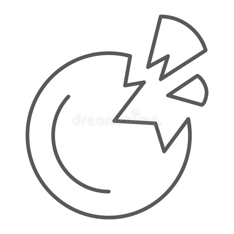Zniszczonej planety cienka kreskowa ikona, przestrzeń i nauka, łamający planeta znak, wektorowe grafika, liniowy wzór ilustracji