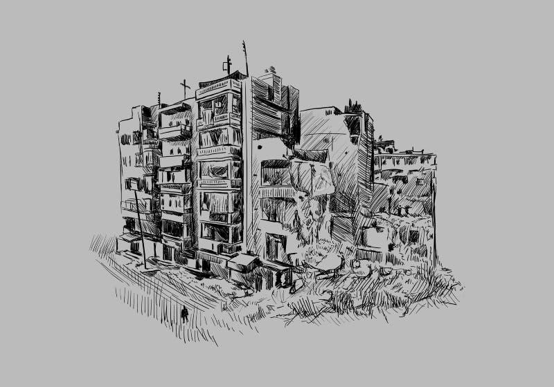 Zniszczony budynek ilustracji
