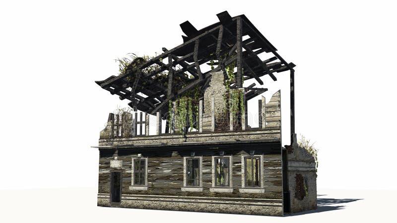 Zniszczony budynek - ruina ilustracji