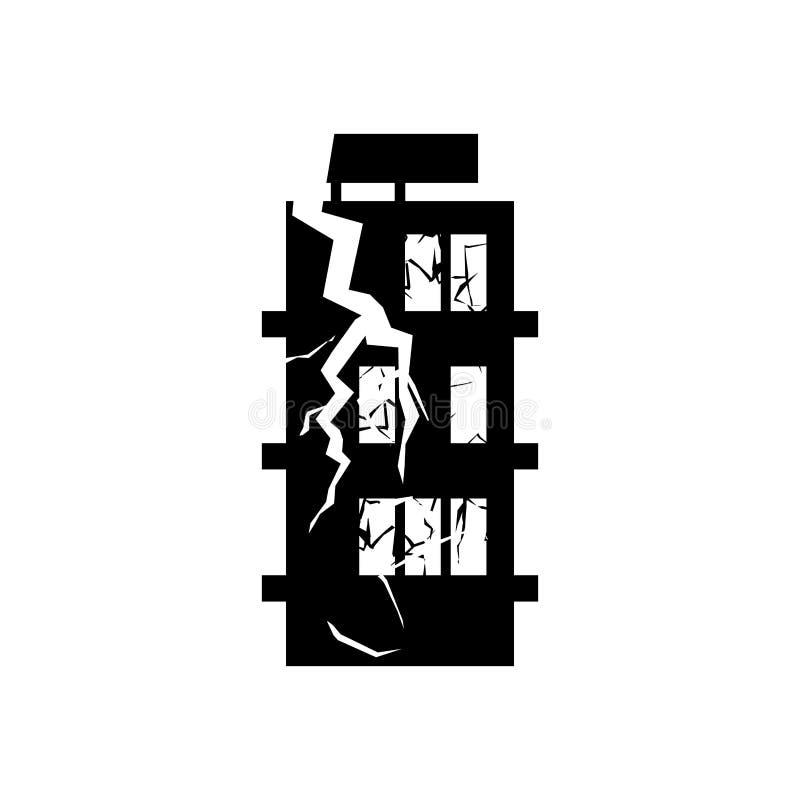 Zniszczony budynku trzęsienie ziemi Łamana domowa wojna rujnujący architec royalty ilustracja