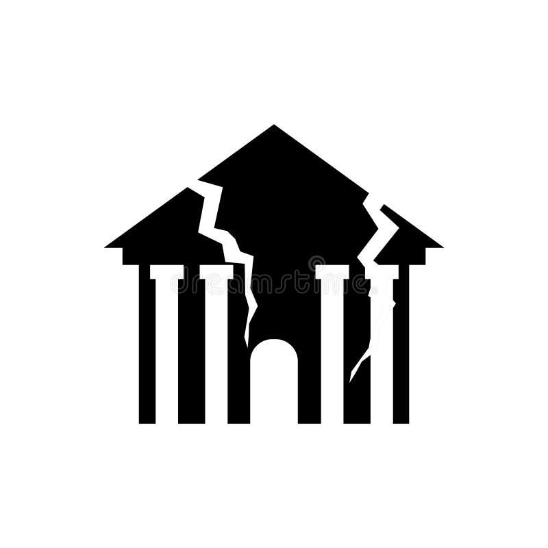 Zniszczony budynku trzęsienie ziemi Łamana domowa wojna rujnujący architec ilustracja wektor