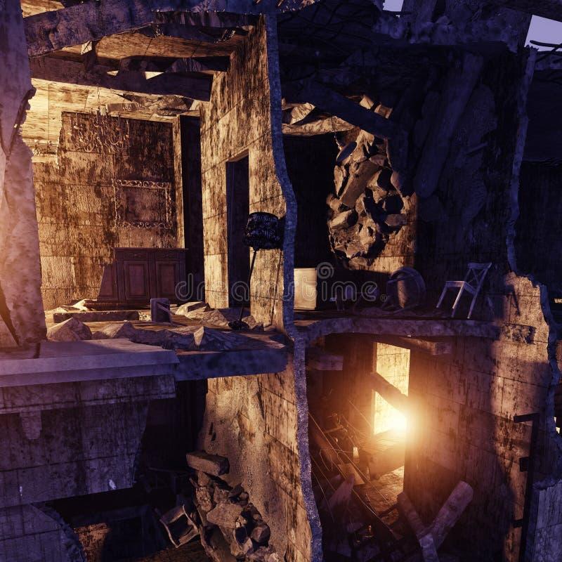 zniszczony dom ilustracji