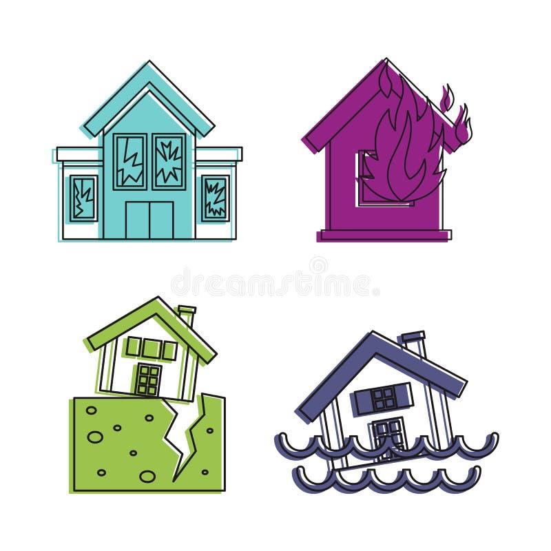 Zniszczony domowy ikona set, koloru konturu styl royalty ilustracja