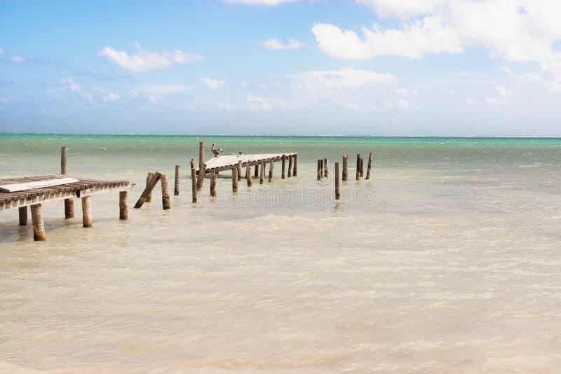 Zniszczony drewniany molo dok i widok na ocean malowniczy, relaksujący, zdjęcia stock