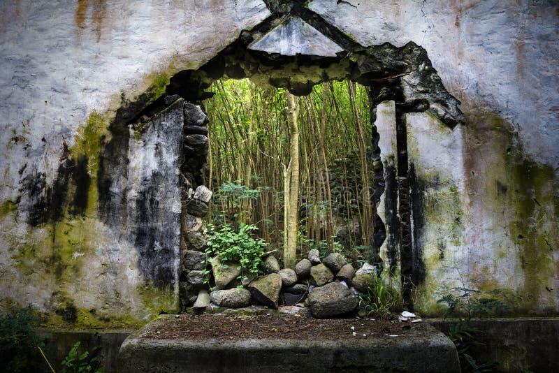Zniszczony kościół w Hawaje obraz royalty free