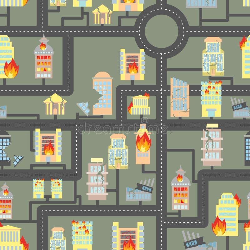 Zniszczony miasto bezszwowy Ogień w Biznesowych budynkach i pojazdach ilustracji