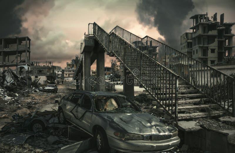 Zniszczony miasto, domy i samochody przy Niesprawiedliwą wojną, ilustracji
