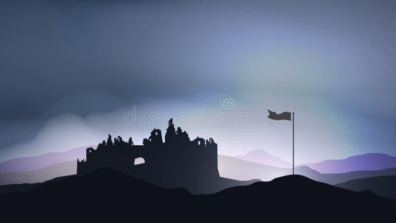 Zniszczony miasto, fort w ruinie z flaga - Wektorowa ilustracja ilustracji