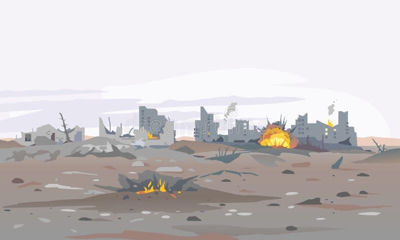 Zniszczony miasto krajobrazu tło ilustracja wektor