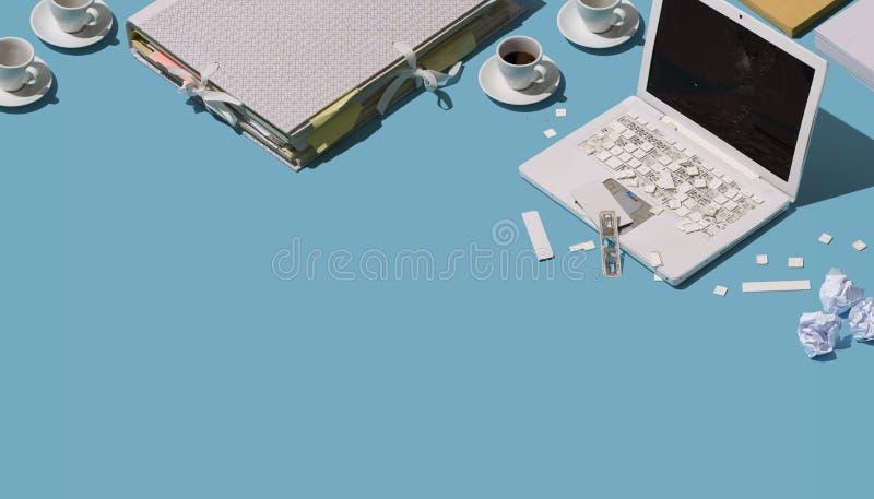Zniszczony upaćkany biurowy biurko ilustracji