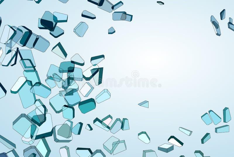 Zniweczeni błękitni szkło kawałki, gradient i ilustracja wektor