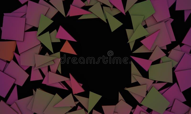 Zniweczeni kolorów przedmioty, próbka teksta tło 3d odpłacają się ilustracji