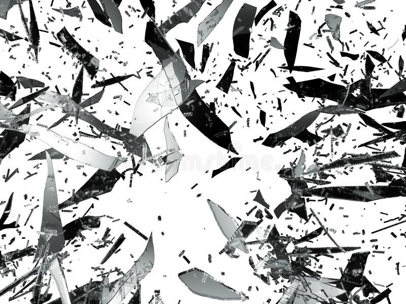 Zniweczeni lub Splitted szklani kawałki odizolowywający royalty ilustracja