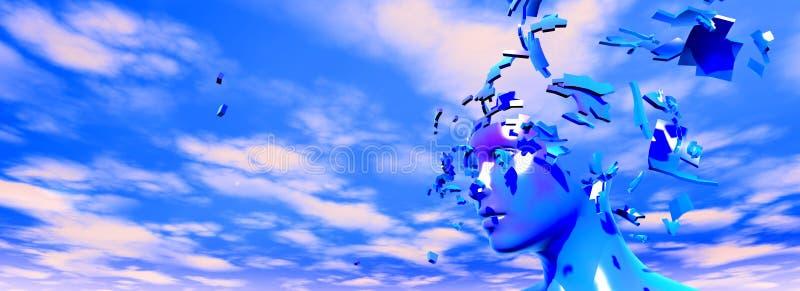 Zniweczony twarz stres i migrena abstrakta pomysł ilustracji