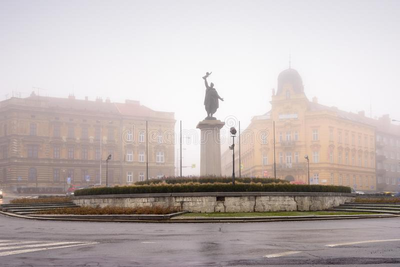 Memorial of russian soldier Ivan covered with fog on a winter day. Znojmo, Czech Republic. royalty free stock photography