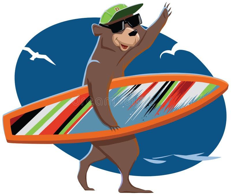 Znosi iść morze i niesie surfboard ilustracji