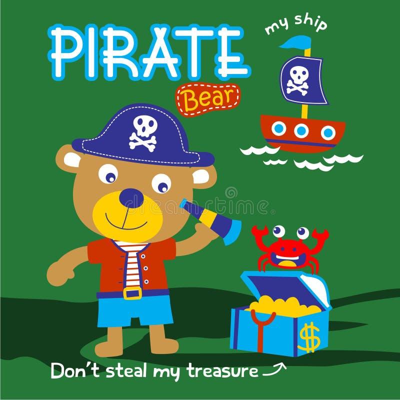 Znosi pirat śmieszną zwierzęcą kreskówkę, wektorowa ilustracja ilustracji