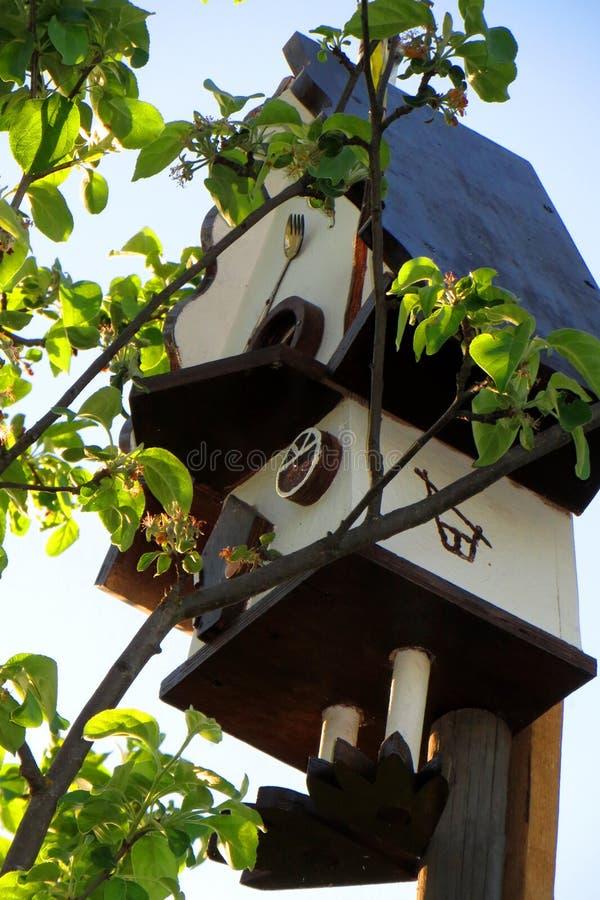 Zo comfortabel vogelhuis op de bovenkant van een appletree in de de lentetuin royalty-vrije stock fotografie