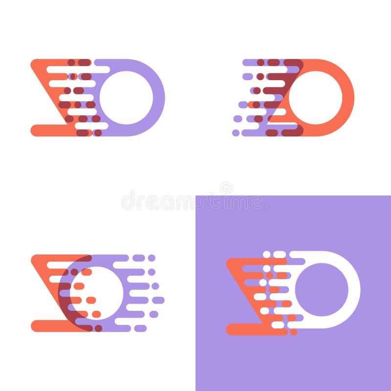 ZO rotula o logotipo com a laranja e a alfazema da velocidade do acento ilustração stock