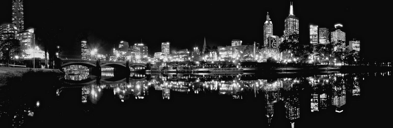 Zo zwart zoals nacht in Melbourne stock foto