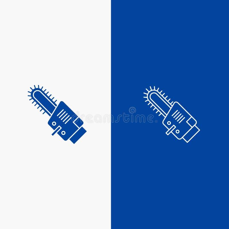 Zobaczył, kurenda, ostrze, Błękitnej ikony błękita Stały sztandar, Cordless linii, glifu Stałej ikony sztandaru glifu i i linii royalty ilustracja