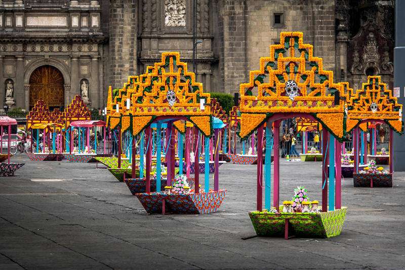Zocalo decoration for the Day of Dead - Mexico City, Mexico. Zocalo decoration for the Day of Dead in Mexico City, Mexico royalty free stock photography