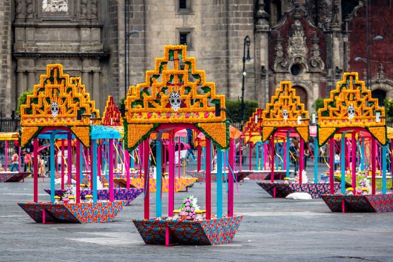 Zocalo decoration for the Day of Dead - Mexico City, Mexico stock photos