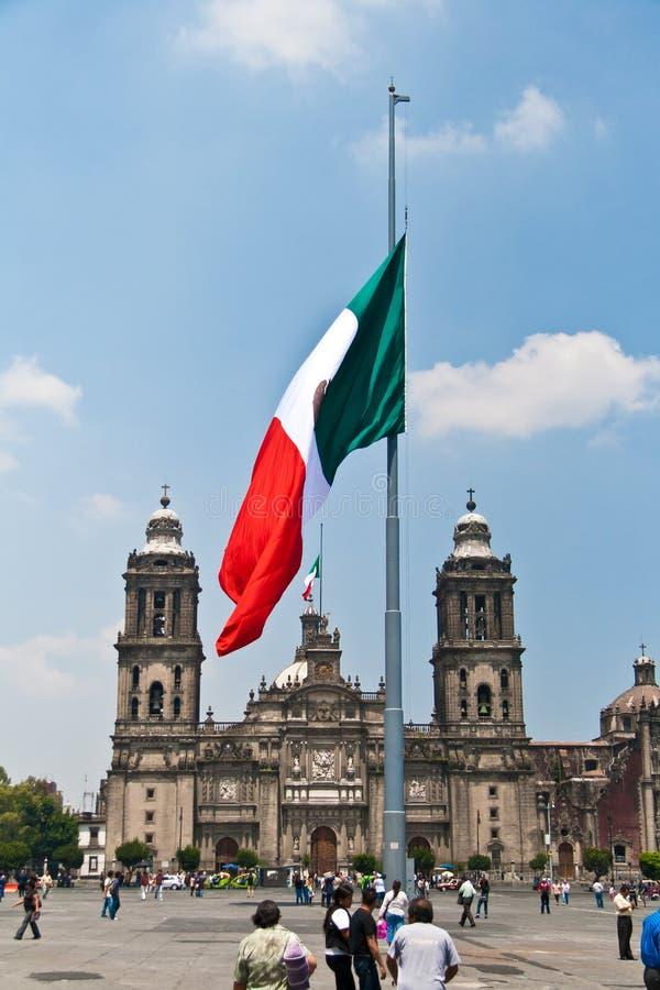 The Zocalo flag, Mexico. The Zocalo or Plaza de la Constitución flag, Mexico stock photo