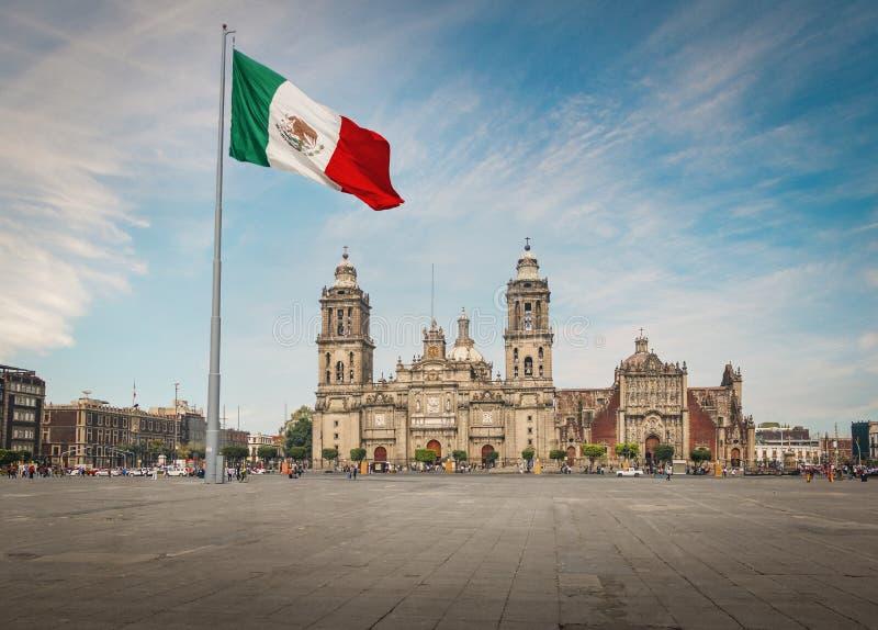 Zocalo Meksyk i kwadrata katedra - Meksyk, Meksyk zdjęcie stock