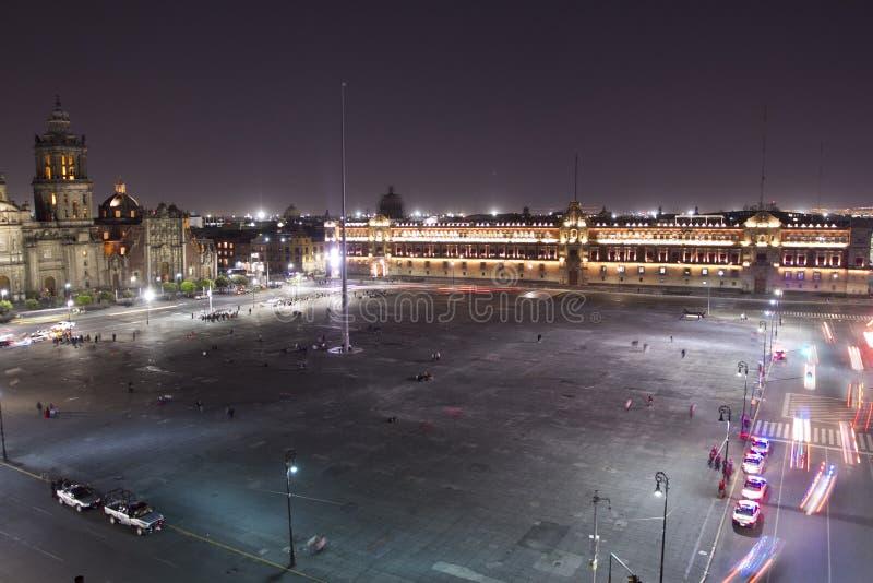 The zocalo in mexico city. At night stock photos
