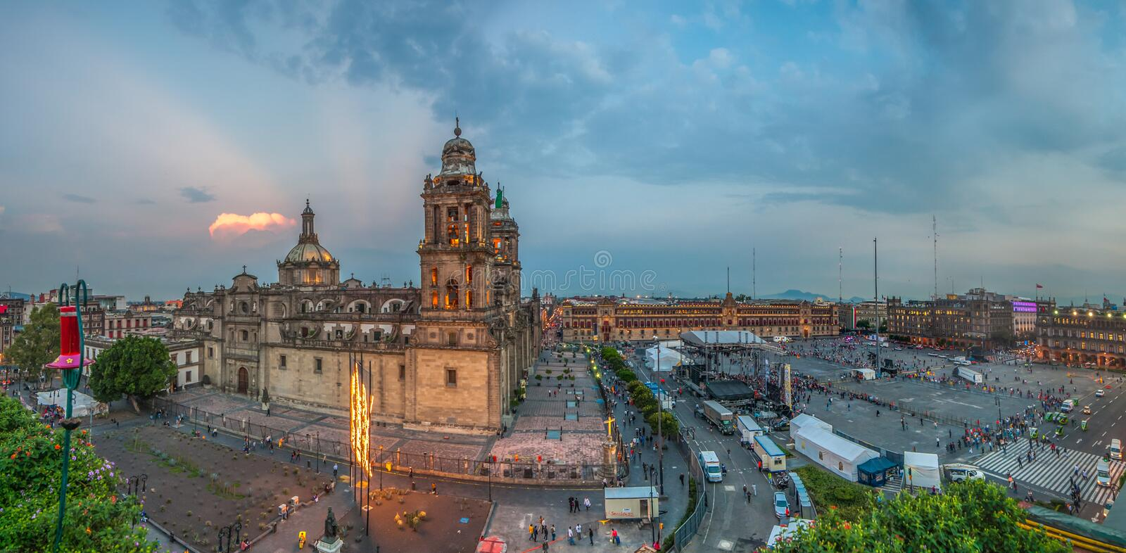Zocalo square and Metropolitan cathedral of Mexico city stock photos