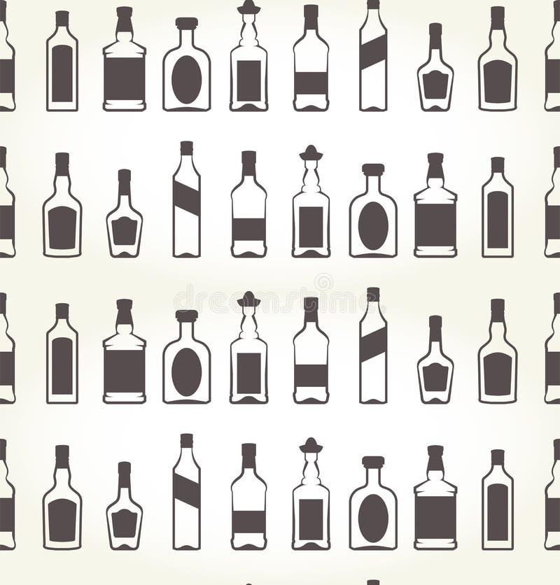 Zoccolo senza cuciture dei bottels dell'alcool - bevanda illustrazione vettoriale