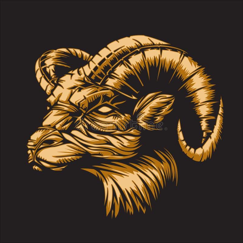 Zodíaco Aries Black ilustração royalty free