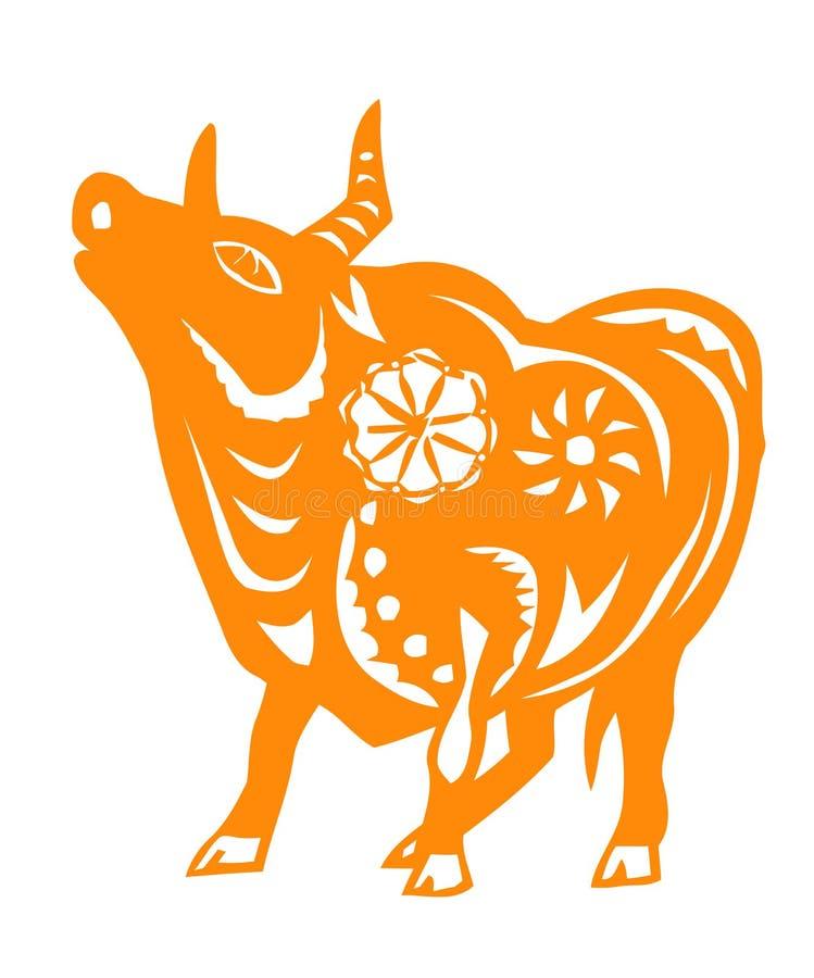 Zodíaco chinês do ano do boi ilustração stock