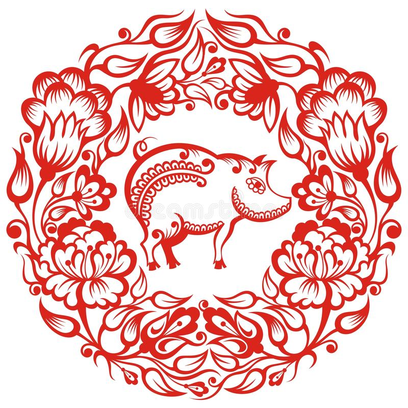 Zodíaco chinês - porco ilustração royalty free
