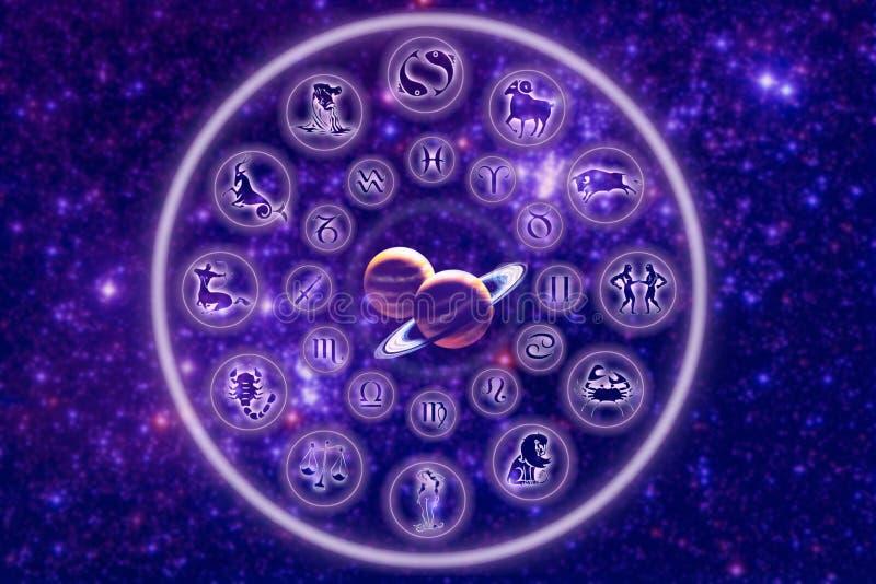 Zodíaco com planetas ilustração stock