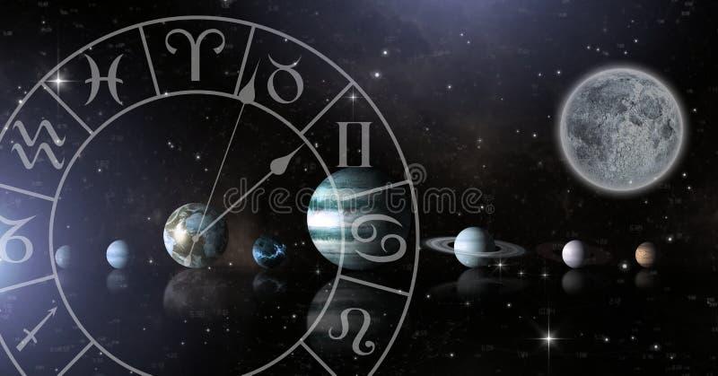 Zodíaco da astrologia com os planetas no espaço e na lua ilustração do vetor