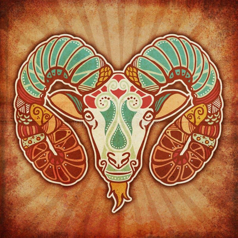 Zodíaco de Grunge - Aries ilustração royalty free