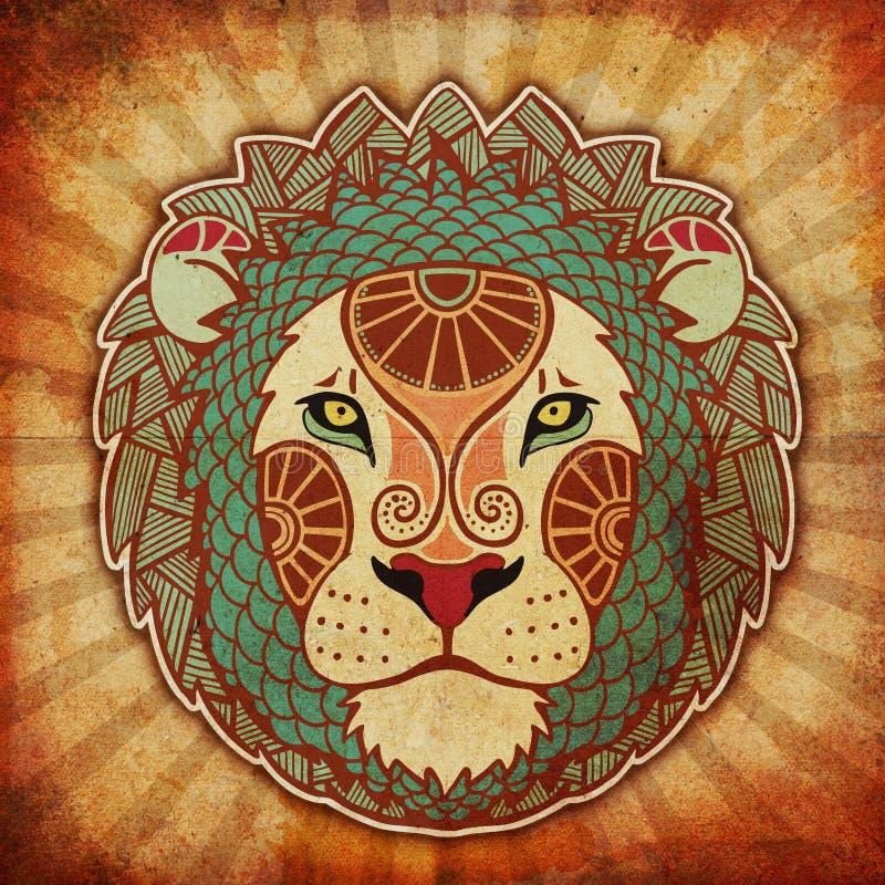 Zodíaco de Grunge - Leo ilustração stock