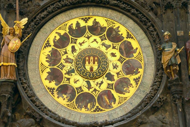 Zodíaco dourado em Praga foto de stock
