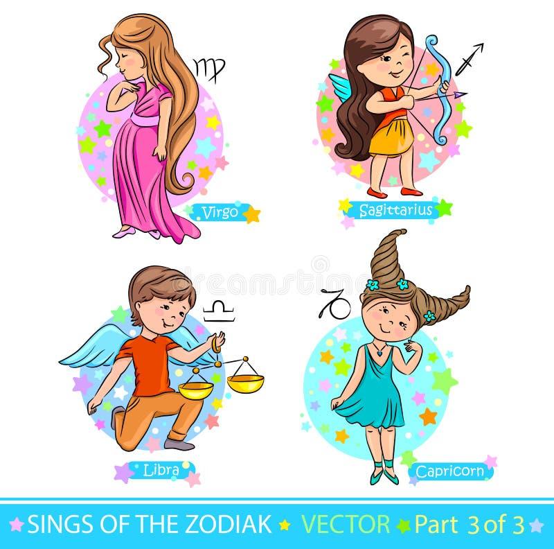 Zodíaco signs_3 ilustração royalty free