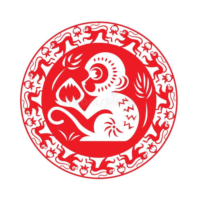 Zodíaco vermelho do macaco no símbolo do círculo (macaco que guarda o pêssego) ilustração royalty free