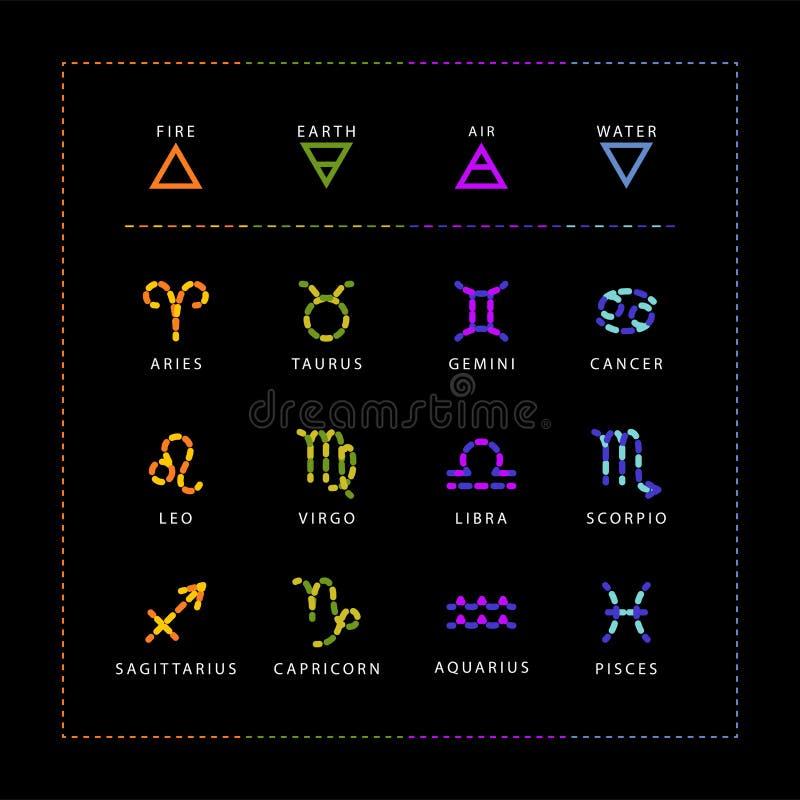 Zodiac σημάδια φιαγμένα από ζωηρόχρωμες χάντρες πετρών, διανυσματικό σύνολο που απομονώνεται στο μαύρο υπόβαθρο απεικόνιση αποθεμάτων