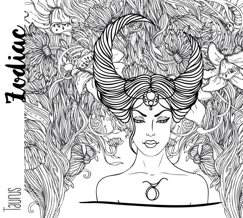 Zodiac: Απεικόνιση Taurus zodiac του σημαδιού ως όμορφο κορίτσι Β διανυσματική απεικόνιση