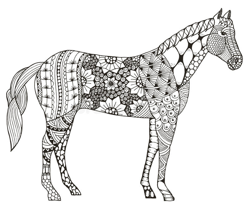 Zodiac αλόγων κινεζική τυποποιημένη, διανυσματική απεικόνιση σημαδιών zentangle απεικόνιση αποθεμάτων