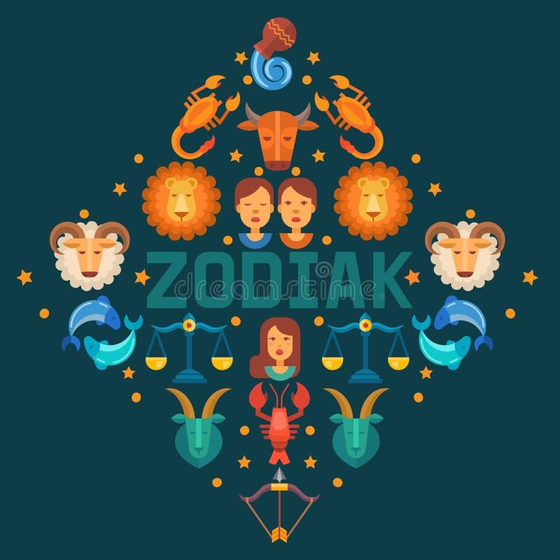 Zodiac διανυσματική απεικόνιση εμβλημάτων σημαδιών Ωροσκόπιο, εικονίδια αστρολογίας όπως Aries, Taurus Διδυμοι, καρκίνος Leo, Vir απεικόνιση αποθεμάτων
