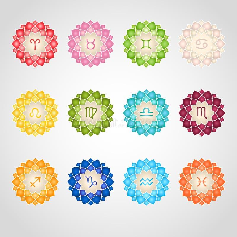 Zodiac εικονίδια σημαδιών απεικόνιση αποθεμάτων